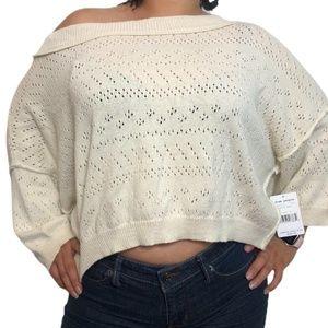 Free People Sand Castle Perforated Sweater Medium